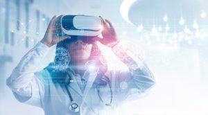 Doctor using virtual reality healthcare technology